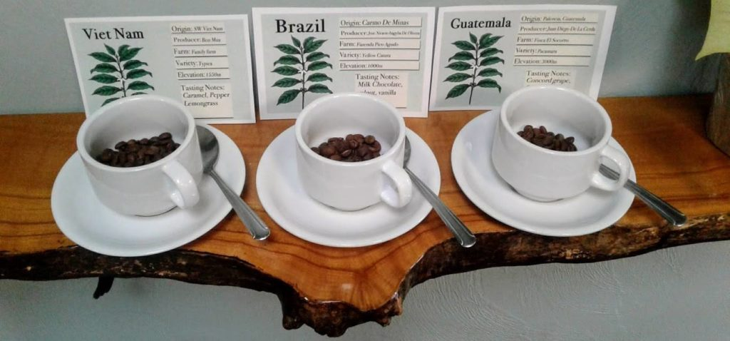 Coffee beans in coffee cup in front of coffee labels.